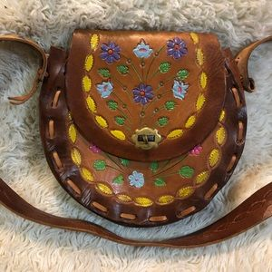 Vintage Tooled Leather Purse with Colorful Flowers